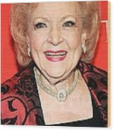 Betty White At Arrivals For Time 100 Wood Print by Everett