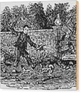 Bewick: Boy With Dogs Wood Print