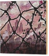 Beyond The Chain Link Wood Print