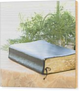 Bible And Microphone On Table Wood Print