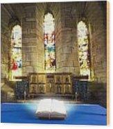 Bible In Church Wood Print