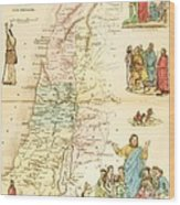 Biblical Map Palestine Wood Print