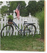 Bicycle And Picket Fence Wood Print