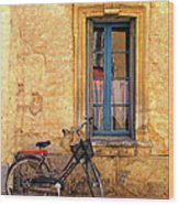 Bicycle And Window In France Wood Print