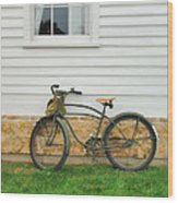 Bicycle By House Wood Print