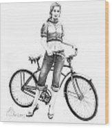 Bicycle Girl Wood Print