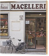 Bicycle In Front Of Italian Delicatessen Wood Print by Jeremy Woodhouse