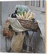 Bicycle Loaded With Food, Delhi, India Wood Print