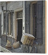 Bicycle On A Street By The Zuider Zee  Wood Print