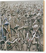 Bicycle Park In Beijing In China Wood Print