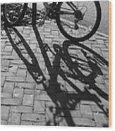Bicycle Shadows In Black And White Wood Print
