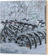 Bicycles In The Snow Wood Print