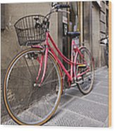 Bicycles Parked In The Street Wood Print