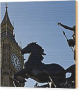 Big Ben And Boadicea Statue  Wood Print