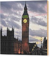 Big Ben Sunset Wood Print by Jim Chamberlain