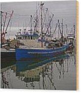 Big Blue Fishing Boat Wood Print