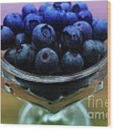 Big Bowl Of Blueberries Wood Print