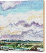 Big Clouds Wood Print