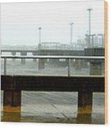 Big Dock Tropical Storm Wood Print by Sheri McLeroy