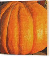 Big Orange Pumpkin Wood Print