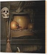 Big Pumpkin With Black Witch Hat And Broom Wood Print by Sandra Cunningham