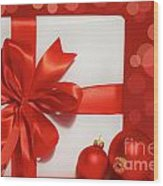 Big Red Bow On Gift  Wood Print by Sandra Cunningham
