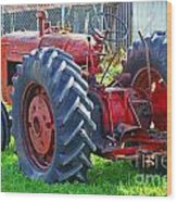 Big Red Rubber Tire Tractor Wood Print
