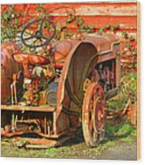Big Red Tractor Wood Print