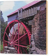 Big Red Wheel Wood Print