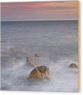 Big Rock Against The Waves Wood Print