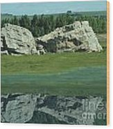 Big Rock Reflection Wood Print