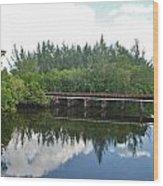 Big Sky And Docks On The River Wood Print