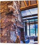 Big Sky Lodge Interior Wood Print