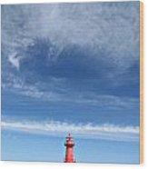 Big Sky Over Algoma Lighthouse Wood Print by Mark J Seefeldt