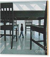 Big Table And Chairs Wood Print