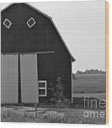Big Tooth Barn Black And White Wood Print