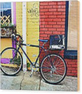Bike Leaning On The Colorful City Walls Of Asheville  Wood Print