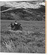 Bike Run Through Yellowstone Wood Print