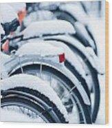 Bikes In Snow Wood Print