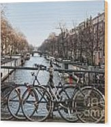 Bikes On The Canal In Amsterdam Wood Print