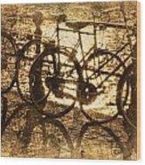 Bikes On The Canal Wood Print by Skip Nall
