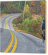 Biking In Autumn Wood Print