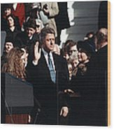 Bill Clinton Center, Taking The Oath Wood Print by Everett