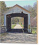 Billie Creek Village Covered Bridge Wood Print