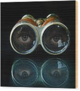 Binoculars With Eyes Looking At You Wood Print