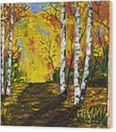 Birch Trees And Road Fall Painting Wood Print