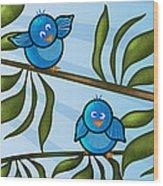 Bird Branch Wood Print by Melisa Meyers