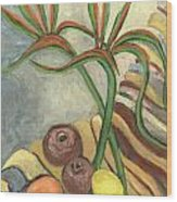 Bird Of Paradise Flowers And Fruits On A Carpet In Yellow Brown Green Wood Print