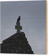 Bird On Cross Wood Print