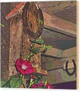 Birdhouse Morning Glories Two Wood Print